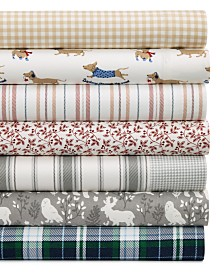 CLOSEOUT! Martha Stewart Collection Printed Cotton Flannel Sheet Sets, Created for Macy's