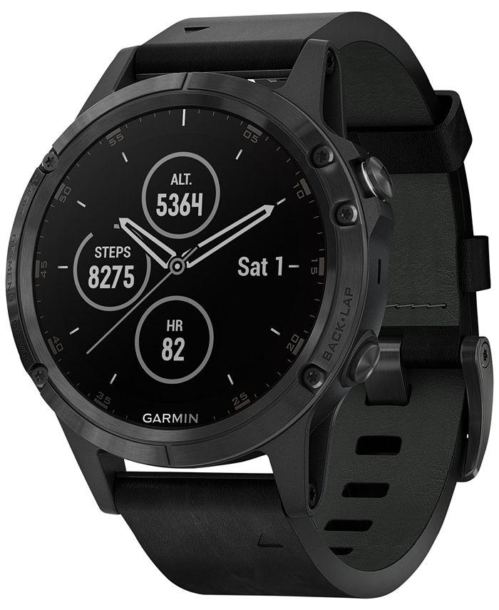 Garmin - Unisex fenix® 5 Plus Black Leather Strap Smart Watch 47mm
