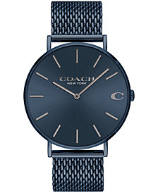 COACH Men's Charles Created for Macy's Blue Stainless Steel Mesh Bracelet Watch 36mm