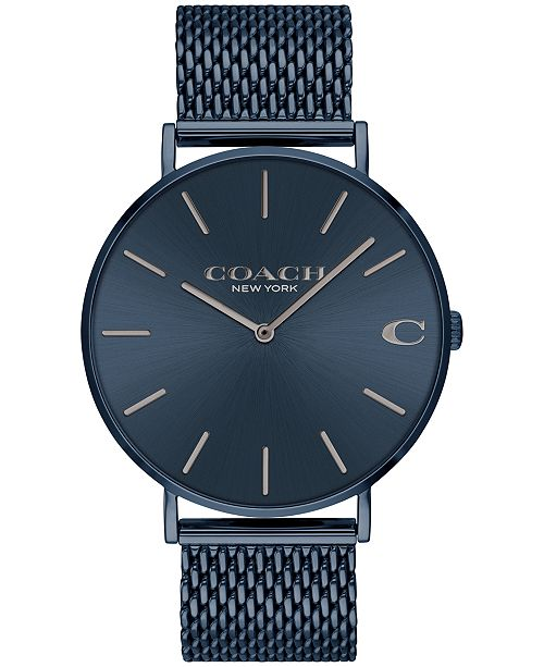 f071c1f637c4a ... Watch 36mm  COACH Men s Charles Created for Macy s Blue Stainless Steel  Mesh Bracelet ...