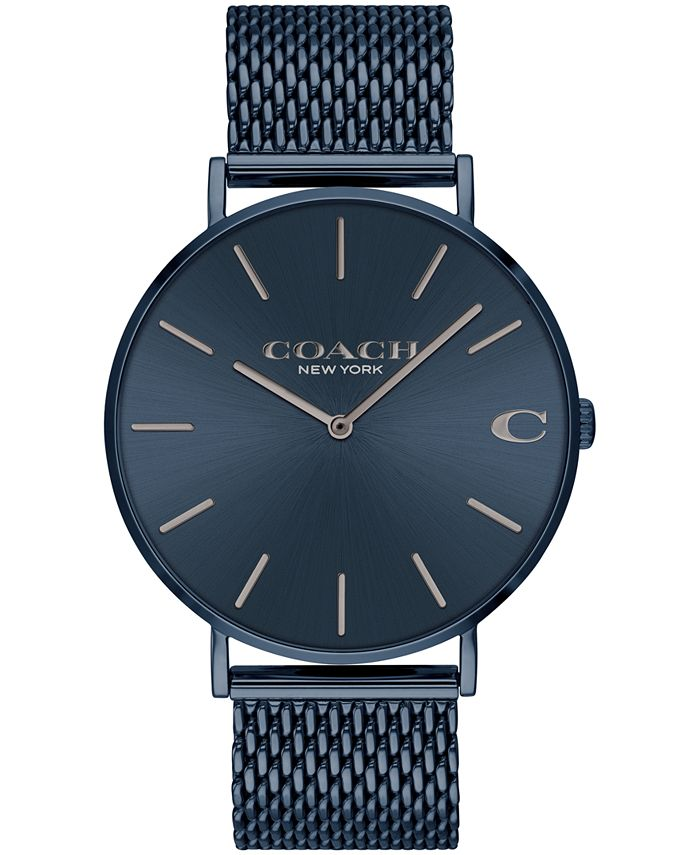 COACH - Men's Charles Blue Stainless Steel Mesh Bracelet Watch 36mm
