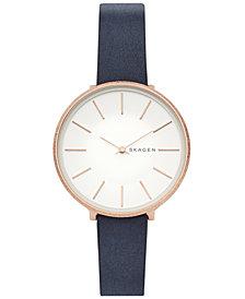 Skagen Women's Karolina Blue Leather Strap Watch 38mm