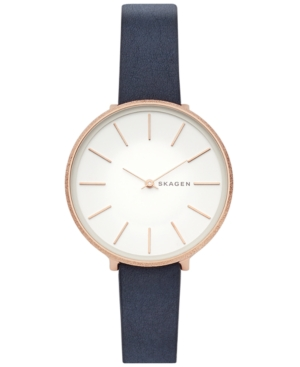 Skagen WOMEN'S KAROLINA BLUE LEATHER STRAP WATCH 38MM