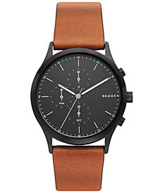 Skagen Men's Chronograph Jorn Brown Leather Strap Watch 41mm