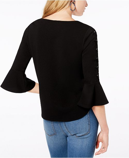 Juniors' Up Black BCX Top Sleeve Lace H0Yzqd