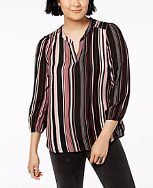BCX Juniors' Striped 3/4-Sleeve Top