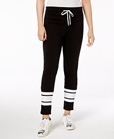 Material Girl Juniors' Striped-Leg Drawstring-Waist Pants, Created for Macy's