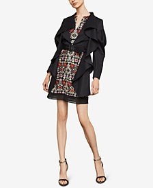 BCBGMAXAZRIA High-Low Ruffle Trench Jacket