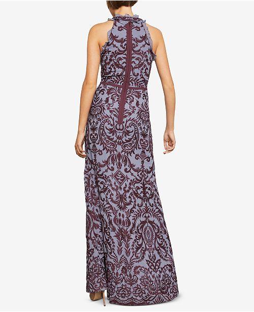 6e0d0f82db77 BCBGMAXAZRIA Embroidered Chiffon Halter Gown   Reviews ...