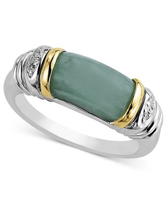 14k Gold and Sterling Silver Ring Jade and Diamond Accent Barrel