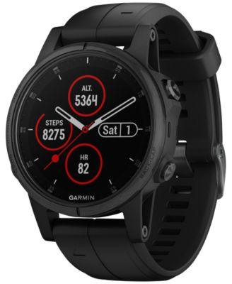 Garmin Unisex fenix® 5S Plus Black Silicone Strap Smart Watch 42mm