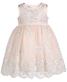 Blueberi Boulevard Baby Girls Floral-Embroidered Dress