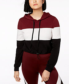 Material Girl Juniors' Colorblocked Cropped Hoodie, Created for Macy's
