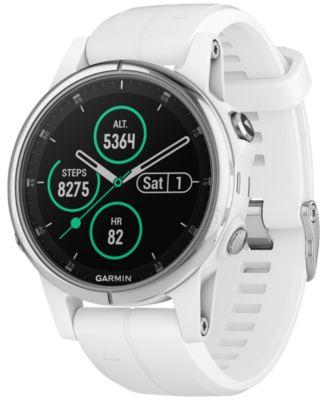 Garmin Unisex fenix® 5S Plus White Silicone Silicone Smart Watch 42mm