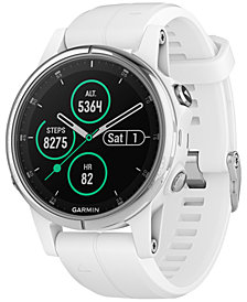 Garmin Unisex fenix® 5S Plus White Silicone Silicone Smart Watch 42mm