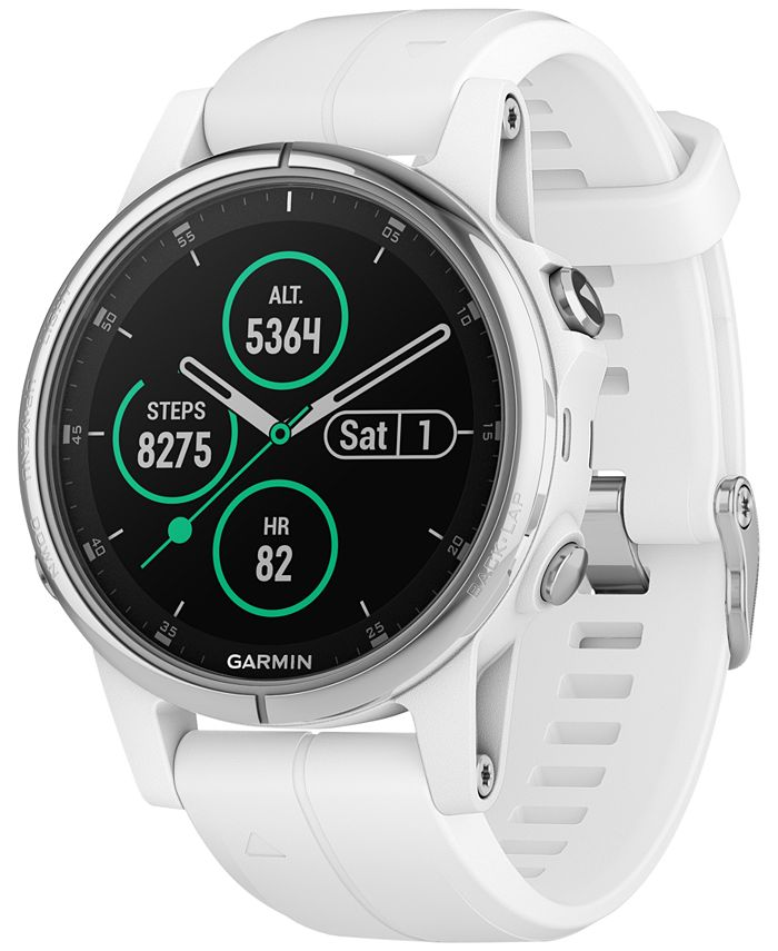 Garmin - Unisex fenix® 5S Plus White Silicone Silicone Smart Watch 42mm