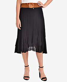 NY Collection Tiered Lace-Up-Detail Skirt