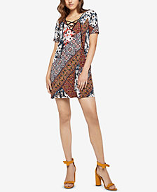 BCBGeneration Handkerchief Patchwork Lace-Up Dress