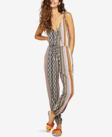 BCBGeneration Printed Tie-Shoulder Surplice Jumpsuit