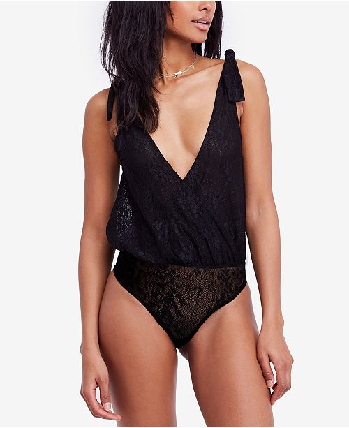 c69f9424e7 Free People Lace All Day Plunging Thong Bodysuit   Reviews - Tops ...