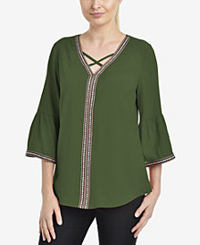 NY Collection Bell-Sleeve Top