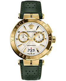 Versace Men's Swiss Aion Chronoghrap Green Leather Strap Watch 45mm