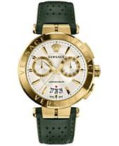5ce37f12d5ae Versace Men s Swiss Aion Chronoghrap Green Leather Strap Watch 45mm