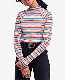 Free People Mirror Cotton Striped Mock-Neck Top
