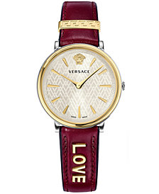 Versace Women's Swiss V-Circle Manifesto Edition Ruby Leather Strap Watch 38mm