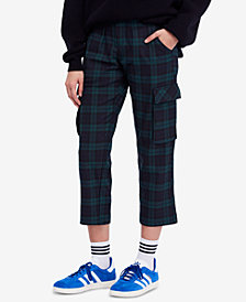 Free People Plaid Cotton Slim Ankle Cargo Pants