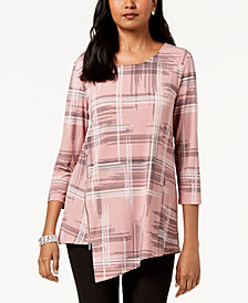 Alfani Printed Asymmetrical-Zip Top, Created for Macy's