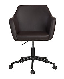 Upholstered Faux Leather Office Chair, Medium Brown