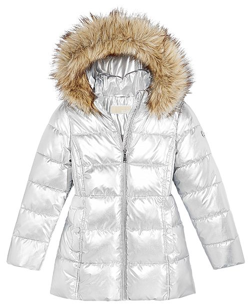 a8454ed9e314 ... Michael Kors Toddler Girls Hooded Puffer Stadium Coat with Faux-Fur  Trim ...