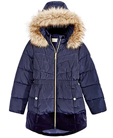 MICHAEL Michael Kors Big Girls Hooded Velvet-Trim Jacket with Faux-Fur Trim