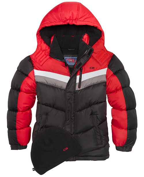 Hooded Colorblocked Puffer Coat, Big Boys