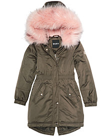 DKNY Big Girls Hooded Long Anorak with Faux-Fur Trim