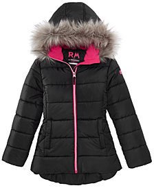 RM 1958 Big Girls Ashlyn Hooded Jacket with Faux-Fur Trim