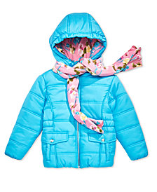 S. Rothschild Toddler Girls Hooded Puffer Jacket with Scarf