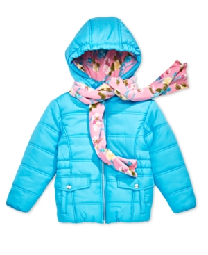 S Rothschild Toddler Girls Hooded Puffer Jacket with Scarf