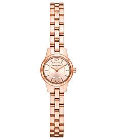 Michael Kors Women's Petite Runway Rose Gold-Tone Stainless Steel Bracelet Watch 19mm