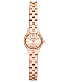 Michael Kors Women's Petite Runway Rose Gold-Tone Stainless Steel Bracelet Watch 19mm