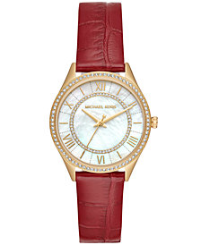 Michael Kors Women's Lauryn Red Leather Strap Watch 33mm