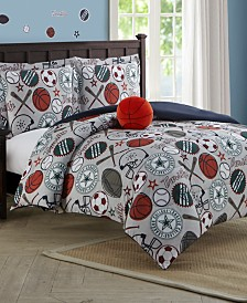 League Sports 3-Piece Comforter Set With Decorative Pillow Twin