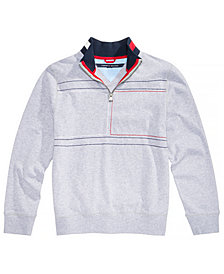 Tommy Hilfiger Big Boys Embroidered Quarter-Zip Cotton Hoodie