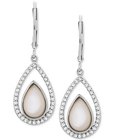 Mother-of-Pearl & White Topaz (1/2 ct. t.w.) Teardrop Drop Earrings in Sterling Silver