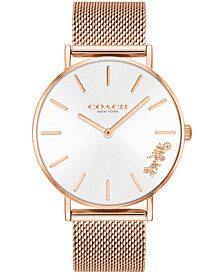 COACH Women's Perry Rose Gold-Tone Stainless Steel Mesh Bracelet Watch 36mm