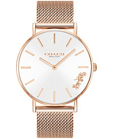 COACH Women's Perry Created for Macy's Rose Gold-Tone Stainless Steel Mesh Bracelet Watch 36mm