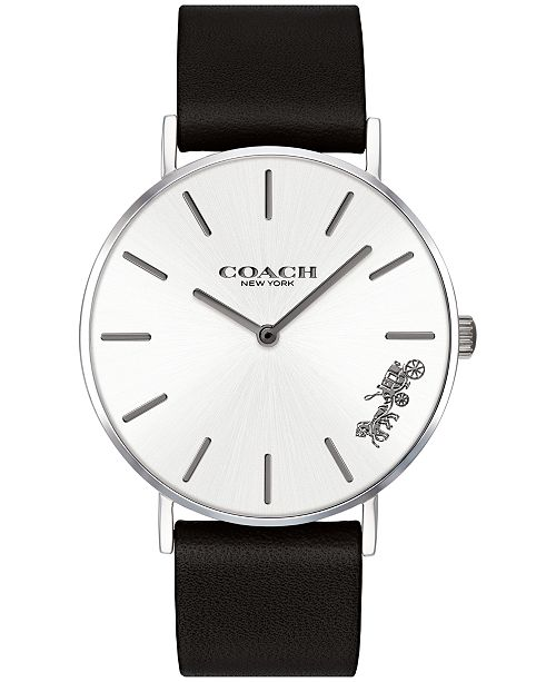 585089b0e ... Watch 36mm; COACH Women's Perry Created for Macy's Black Leather Strap  ...