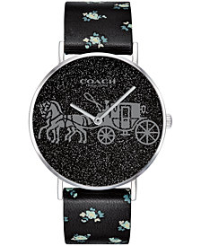 COACH Women's Perry Created for Macy's Black Leather Strap Watch 36mm