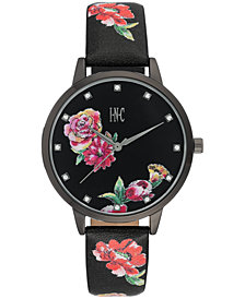 I.N.C. Women's Black Floral Faux Leather Strap Watch 38mm, Created for Macy's